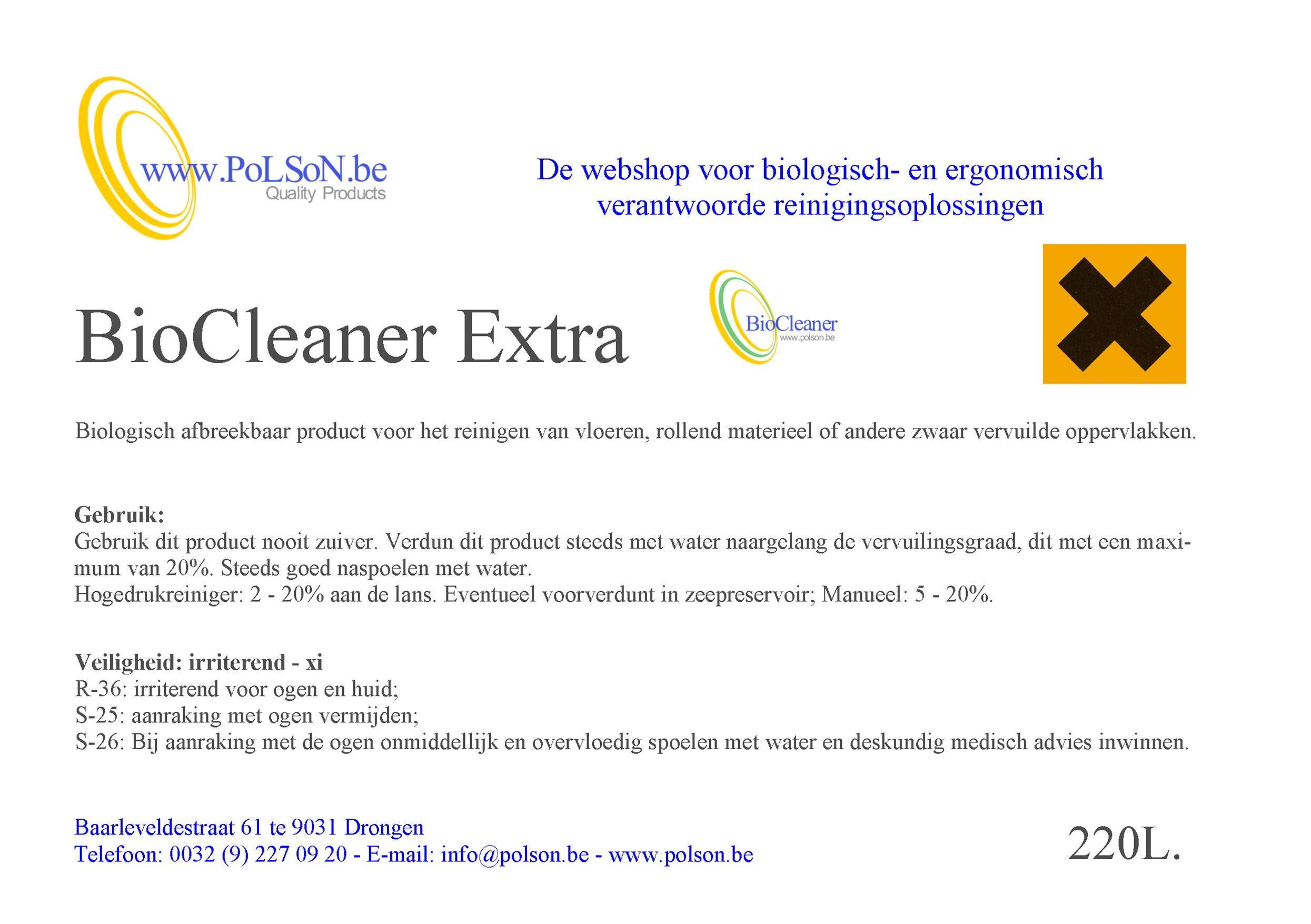 BIOCLEANER EXTRA 220L.